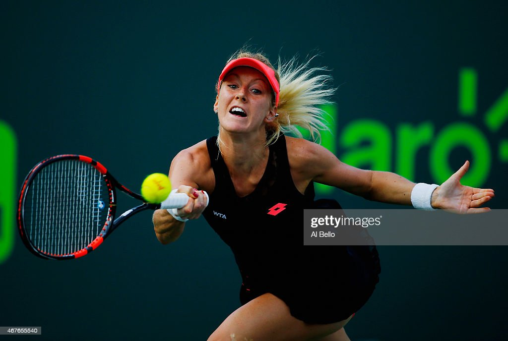 Urszula Radwanska of Poland returns the ball to Venus Williams during day 4 of the Miami Open at Crandon Park Tennis Center on March 26, 2015 in Key Biscayne, Florida.