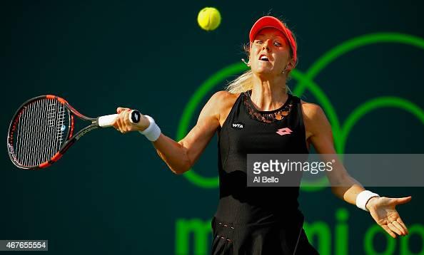 Urszula Radwanska of Poland returns the ball to Venus Williams during day 4 of the Miami Open at Crandon Park Tennis Center on March 26 2015 in Key...
