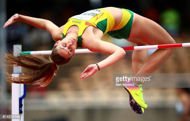 Urte Bacianskaite of Lithuania in action during the high jump in the girls heptathlon on day three of the IAAF U18 World Championships at the...