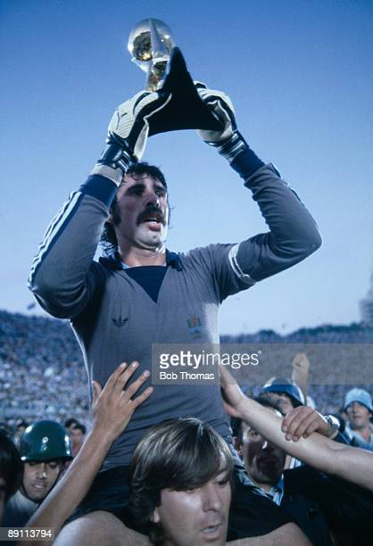 Uruguay captain and goalkeeper Rodolfo Rodriguez is carried around the Estadio Centenario in Montevideo after the Uruguayans had beaten Brazil 21 to...