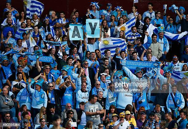 Uruguay fans show their support match during the 2015 Rugby World Cup Pool A match between Australia and Uruguay at Villa Park on September 27 2015...