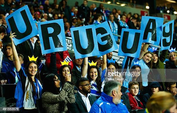 Uruguay fans show their support prior to the 2015 Rugby World Cup Pool A match between Fiji and Uruguay at Stadium mk on October 6 2015 in Milton...