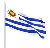 Uruguay flag blowing in the wind. Background texture. 3d rendering, waving flag. Illustration. Isolated on white.
