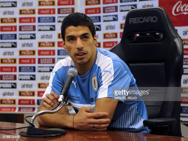 Uruguay player Luis Suarez speaks at a press conference in the Complejo Celeste in Montevideo on March 22 2016 after the national team's practice...