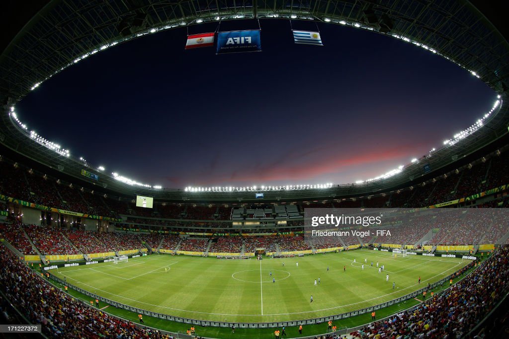 Uruguay plays against Tahiti during the FIFA Confederations Cup Brazil 2013 Group B match between Uruguay and Tahiti at Arena Pernambuco on June 22, 2013 in Recife, Brazil.