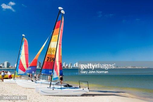 Uruguay, Punta del Este, boats on beach