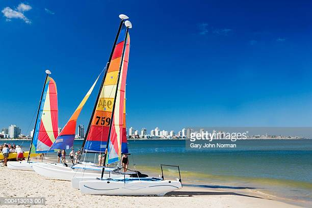 Uruguay, Punta del Este, boats on beach