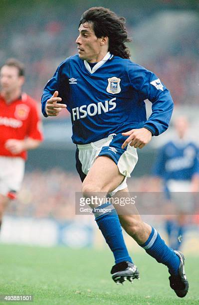 Uruguayan footballer Adrian Paz playing for Ipswich Town against Manchester United at Portman Road Ipswich 24th September 1994 Ipswich won the match...