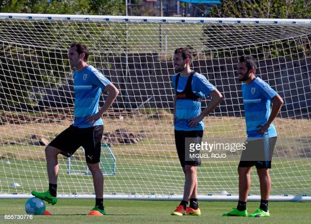 Uruguayan footballers Diego Godin Christian Stuani and Alvaro Gonzalez take part of a training session ahead of their FIFA World Cup South American...