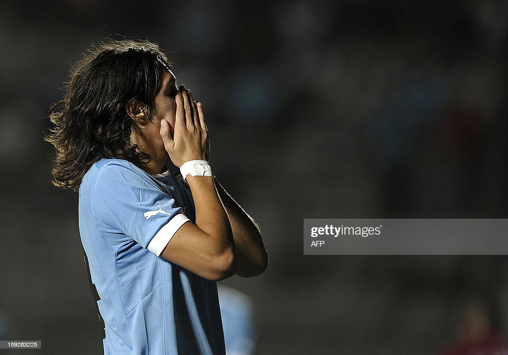 Uruguayan forward Ruben Betancourt reacts after missing a chance of goal against Peru during their South American U-20 Championship Group B football match, at Bicentenario stadium in San Juan, Argentina, on January 10, 2013. Four South American teams will qualify for the FIFA U-20 World Cup Turkey 2013.