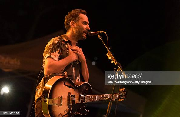 Uruguayan Latin Pop musician Jorge Drexler performs with his band at Central Park SummerStage New York New York July 19 2015