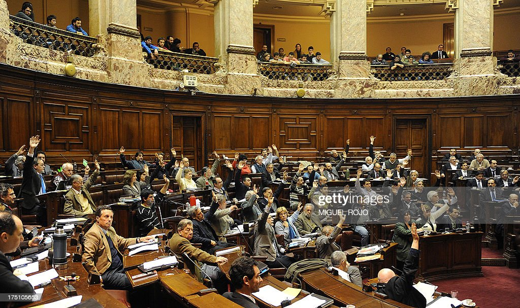 Uruguayan lawmakers vote the bill legalizing marijuana, in Montevideo, on July 31, 2013. Uruguay's lower house voted --50 out of 96-- the controversial bill which for the first time would put a government in charge of production and distribution of legal marijuana. The bill, unveiled in June 2012 as part of a series of measures to combat rising violence, will now head to the Senate for final passage.