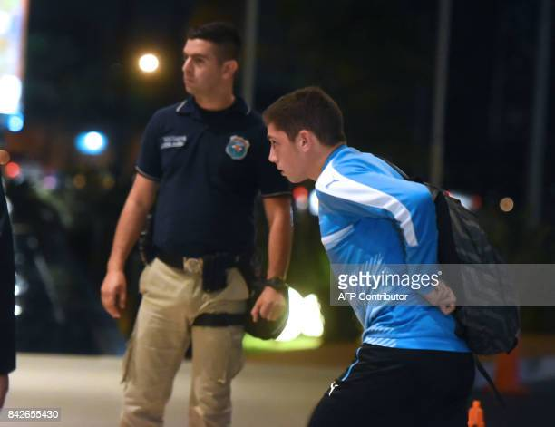 Uruguayan national football team player Federico Valverde arrives at a hotel on September 4 in Luque Paraguay ahead of their World Cup 2018 South...