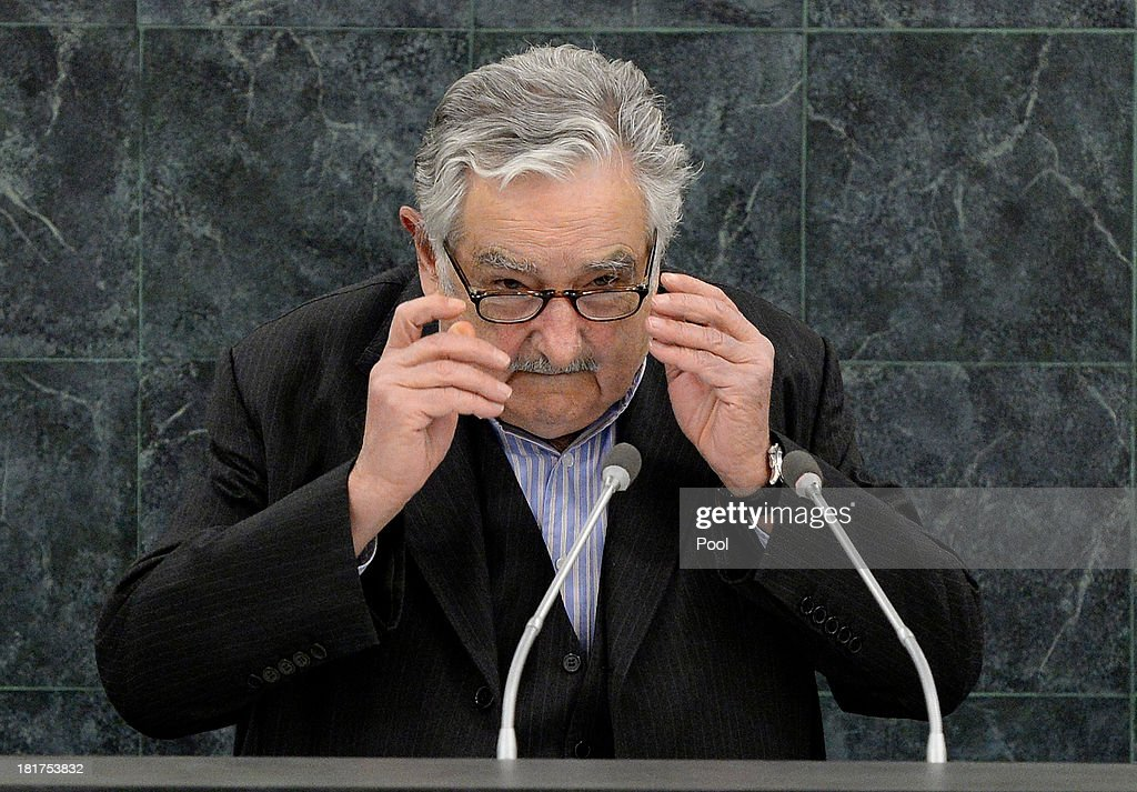 Uruguayan President <a gi-track='captionPersonalityLinkClicked' href=/galleries/search?phrase=Jose+Mujica&family=editorial&specificpeople=637688 ng-click='$event.stopPropagation()'>Jose Mujica</a> addresses the U.N. General Assembly on September 24, 2013 in New York City. Over 120 prime ministers, presidents and monarchs are gathering this week for the annual meeting at the temporary General Assembly Hall at the U.N. headquarters while the General Assembly Building is closed for renovations.