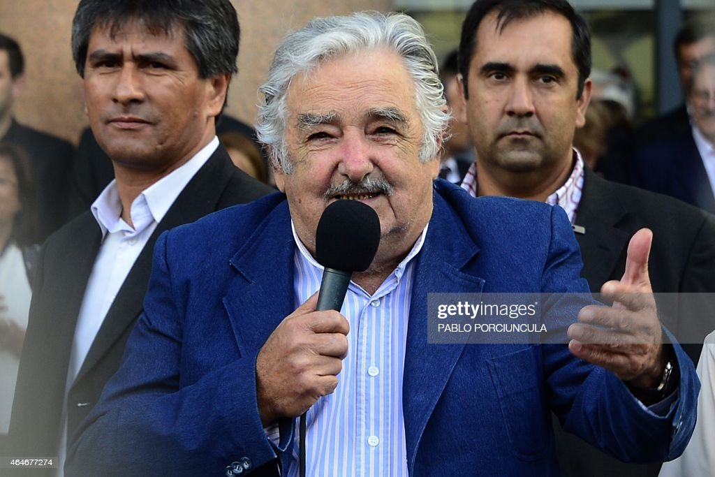 Uruguayan President <a gi-track='captionPersonalityLinkClicked' href=/galleries/search?phrase=Jose+Mujica&family=editorial&specificpeople=637688 ng-click='$event.stopPropagation()'>Jose Mujica</a> delivers a speech during his farewell ceremony in Montevideo on February 27, 2015, two days before the swearing in ceremony of the president-elect Tabare Vazquez.