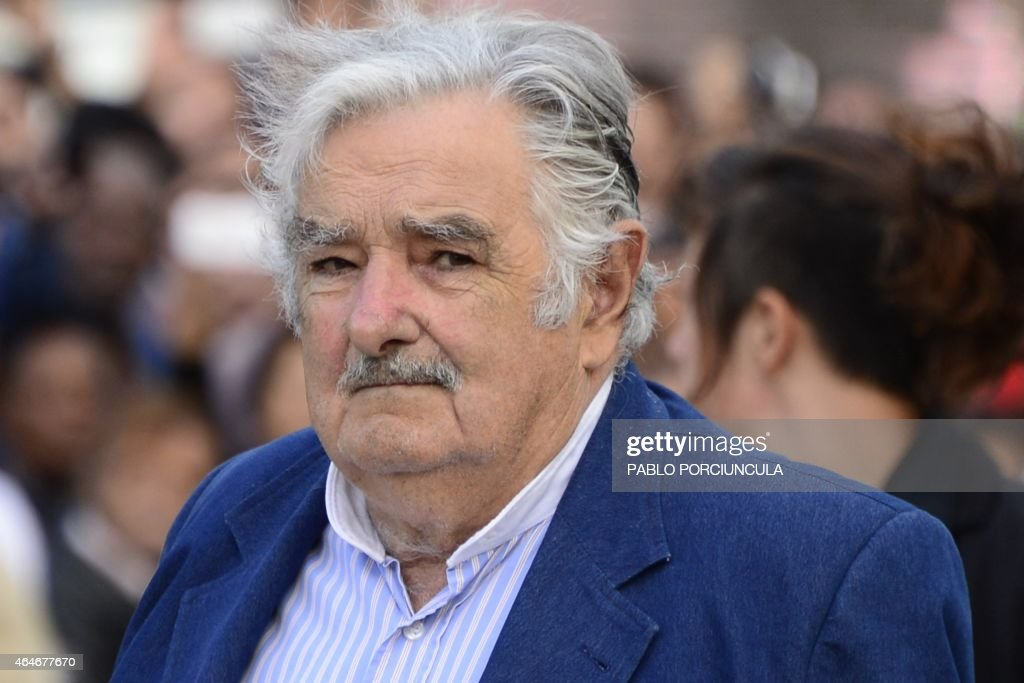 Uruguayan President <a gi-track='captionPersonalityLinkClicked' href=/galleries/search?phrase=Jose+Mujica&family=editorial&specificpeople=637688 ng-click='$event.stopPropagation()'>Jose Mujica</a> looks on during his farewell ceremony in Montevideo on February 27, 2015, two days before the swearing in ceremony of the president-elect Tabare Vazquez.