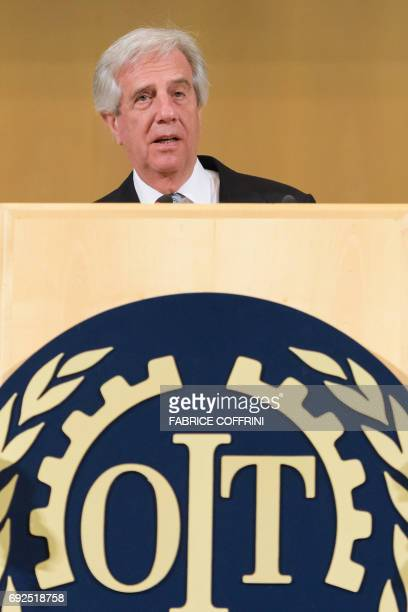 Uruguayan President Tabare Vazquez delivers a speech to the delegates of the 106th ILO annual conference on June 5 2017 at the United Nations Office...