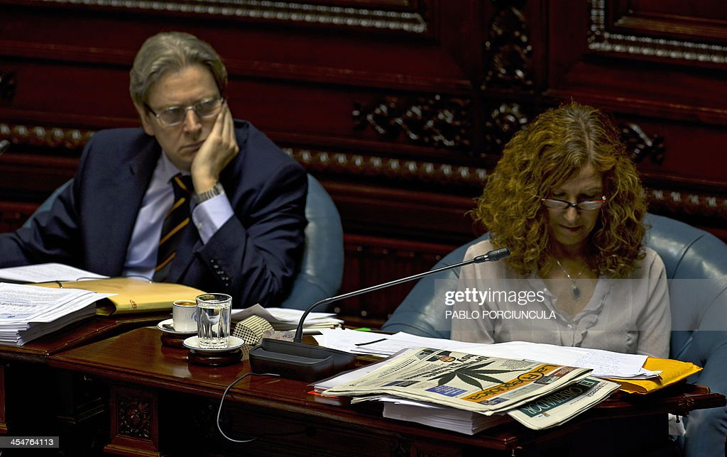 Uruguayan Senators Constanza Moreira (R) of the ruling Frente Amplio (Broad Front) party and opposition Ope Pasquet of the Colorado party attend the discussion of a law on the legalization of marijuana's cultivation and consumption at the Parliament building in Montevideo on December 10, 2013. Uruguays parliament is to vote Tuesday a project that would make the country the first to legalize marijuana, an experiment that seeks to confront drug trafficking. The initiative launched by 78-year-old Uruguayan President Jose Mujica, a former revolutionary leader, would enable the production, distribution and sale of cannabis, self-cultivation and consumer clubs, all under state control. AFP PHOTO/ Pablo PORCIUNCULA