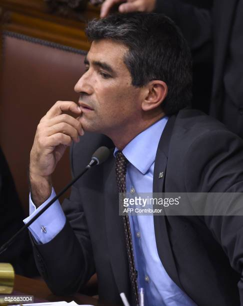 Uruguayan Vice President Raul Sendic gestures as he chairs the General Assembly at the Legislative Palace in Montevideo on August 1 2017 ROJO