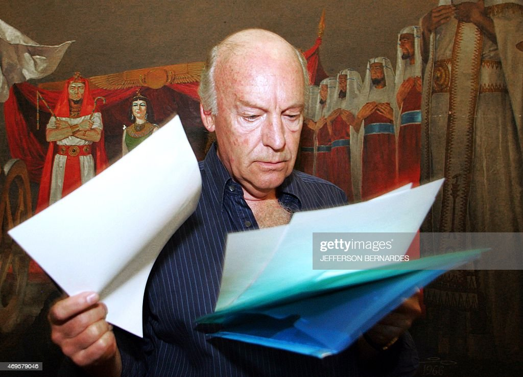 Uruguayan writer <a gi-track='captionPersonalityLinkClicked' href=/galleries/search?phrase=Eduardo+Galeano&family=editorial&specificpeople=2578757 ng-click='$event.stopPropagation()'>Eduardo Galeano</a> leafs through some notes before delivering his speech at the V World Social Forum 29 January 2005 in Porto Alegre, southern Brazil. Galeano died in Montevideo on April 13, 2015 at the age of 74.