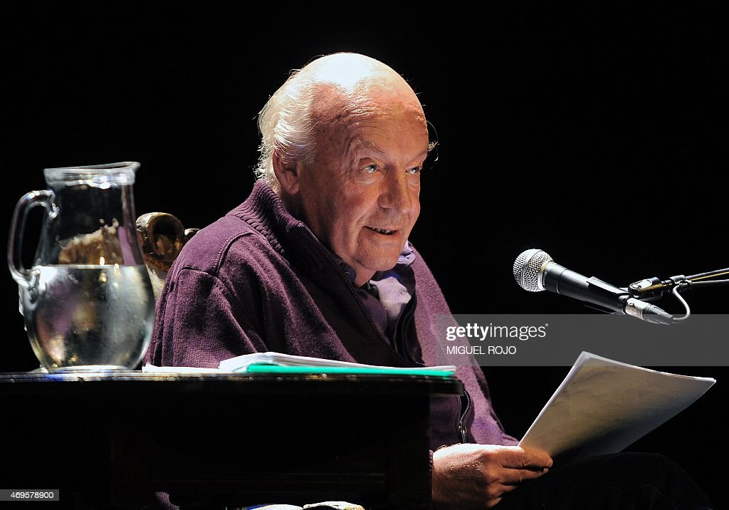Uruguayan writer <a gi-track='captionPersonalityLinkClicked' href=/galleries/search?phrase=Eduardo+Galeano&family=editorial&specificpeople=2578757 ng-click='$event.stopPropagation()'>Eduardo Galeano</a> reads from his new book 'Los hijos de los dias' (The sons of the days) at the Solis Theater in Montevideo on April 3, 2012. Galeano died in Montevideo on April 13, 2015 at the age of 74. AFP PHOTO/Miguel ROJO