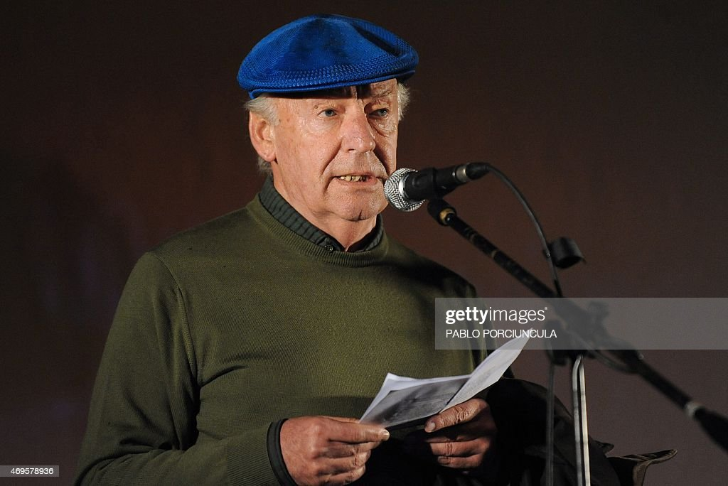 Uruguayan writer <a gi-track='captionPersonalityLinkClicked' href=/galleries/search?phrase=Eduardo+Galeano&family=editorial&specificpeople=2578757 ng-click='$event.stopPropagation()'>Eduardo Galeano</a> speaks during the closing march to support the referendum to abolish an amnesty law for those involved in crimes against human rights during Uruguay's last dictatorship (1973-1984), in Montevideo on October 20, 2009. Galeano died in Montevideo on April 13, 2015 at the age of 74. AFP PHOTO/Pablo Porciuncula