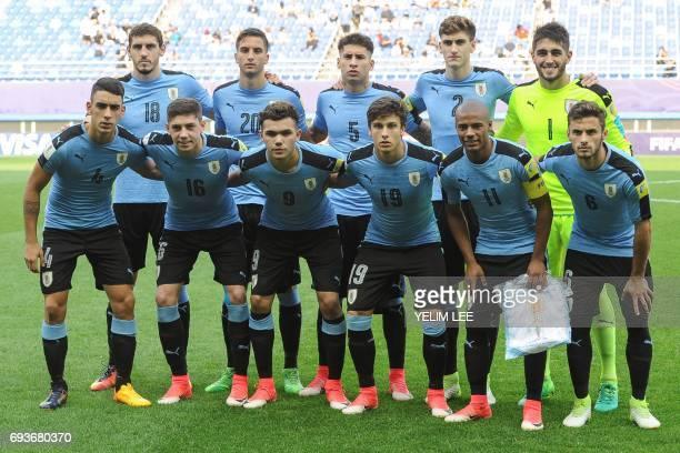 Uruguay's defender Jose Luis Rodriguez midfielder Federico Valverde forward Nicolas Schiappacasse forward Agustin Canobbio midfielder Nicolas De La...