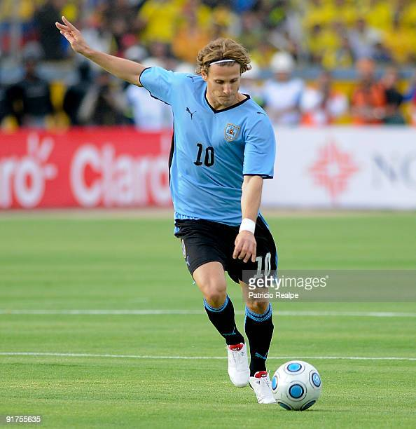 Uruguay's Diego Forlan in action during their FIFA 2010 World Cup Qualifying match at Atahualpa Olympic Stadium on October 10 2009 in Quito Ecuador