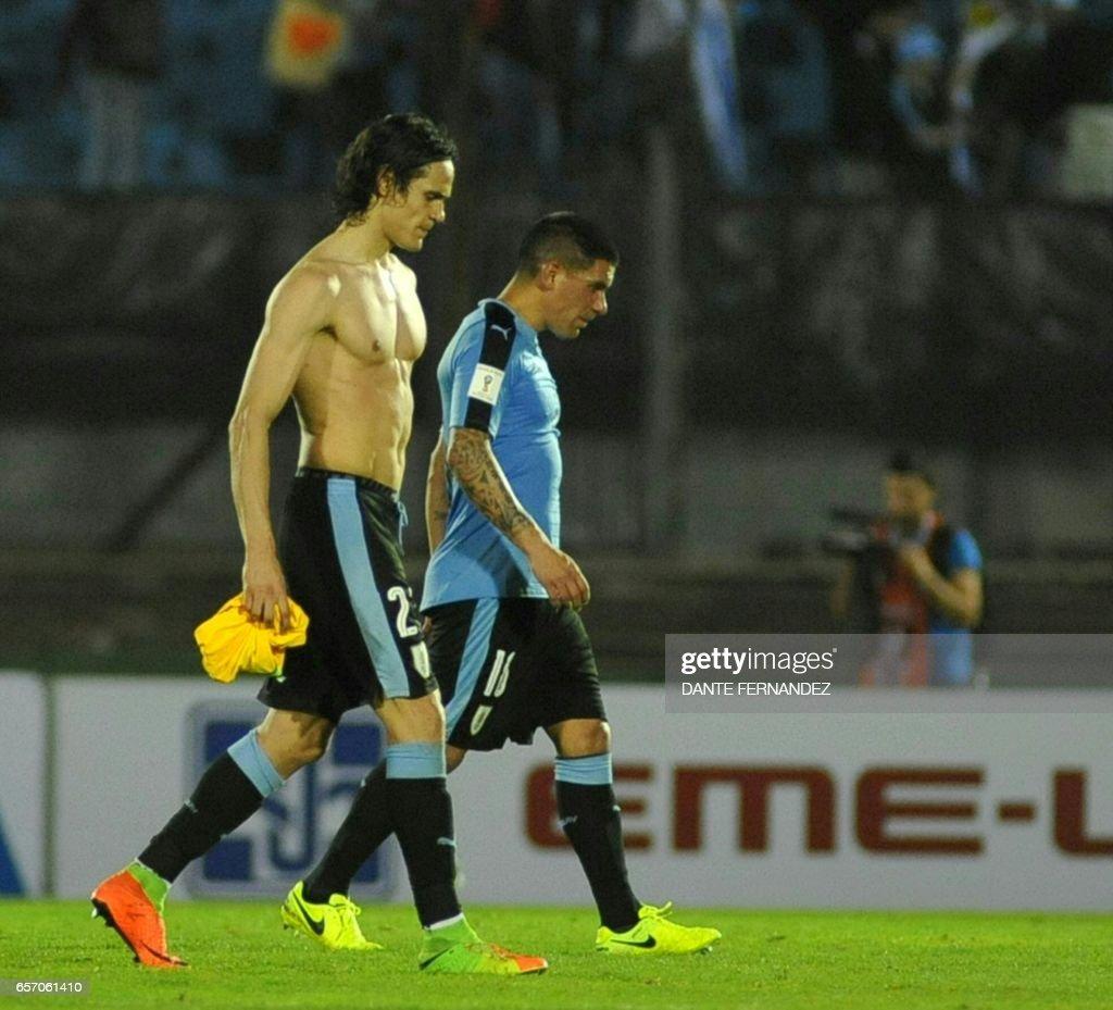 Uruguay s Edinson Cavani L and Uruguay´s Maximiliano Pereira