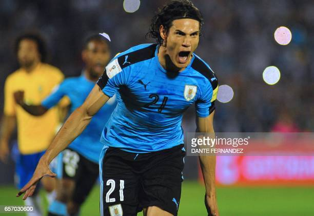 Uruguay's Edinson Cavani celebrates after scoring against Brazil during their 2018 FIFA World Cup qualifier football match in Montevideo Uruguay on...