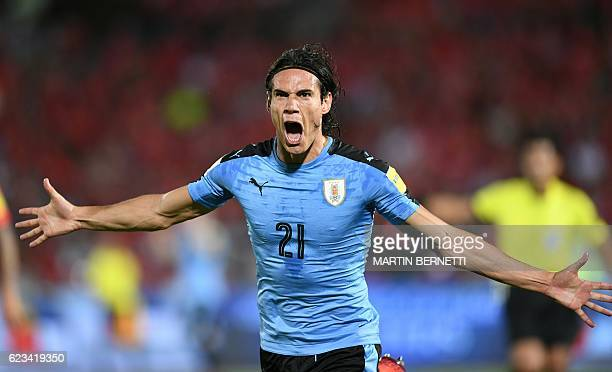 Uruguay's Edinson Cavani celebrates after scoring against Chile during their 2018 FIFA World Cup qualifier football match in Santiago on November 15...