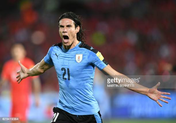 TOPSHOT Uruguay's Edinson Cavani celebrates after scoring against Chile during their 2018 FIFA World Cup qualifier football match in Santiago on...