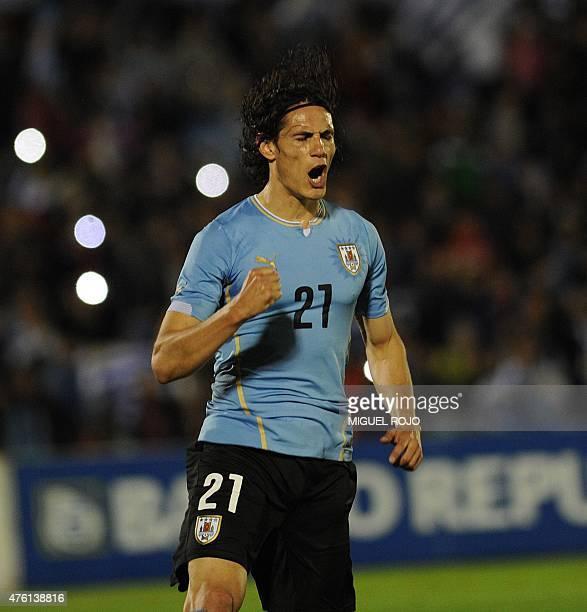Uruguay's Edinson Cavani celebrates their third goal against Guatemala during their friendly football match at Centenario Stadium in Montevideo on...