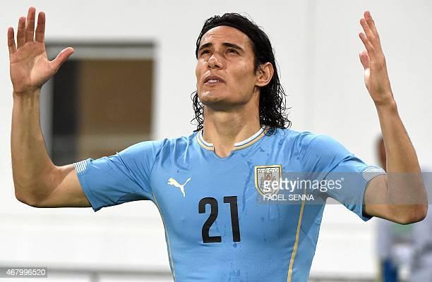 Uruguay's Edinson Cavani gestures during the friendly match between Morocco and Uruguay in Agadir on March 28 2015 AFP PHOTO / FADEL SENNA
