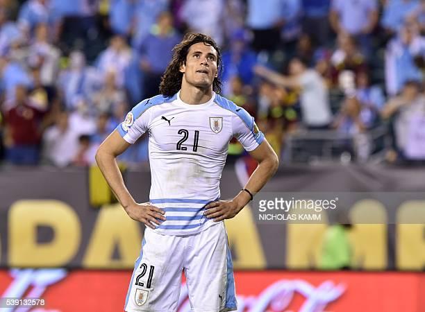 Uruguay's Edinson Cavani shows his dejection during the Copa America Centenario football tournament match against Venezuela in Philadelphia...