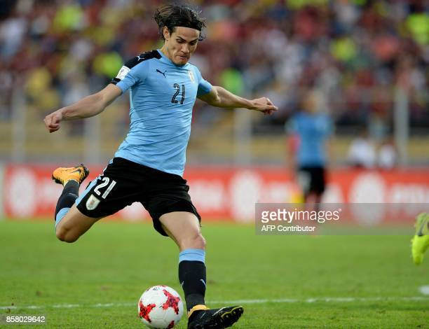 Uruguay's Edinson Cavani strikes the ball during the 2018 World Cup football qualifier match against Venezuela in San Cristobal Venezuela on October...