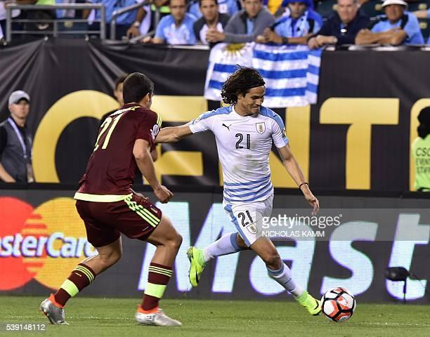 Uruguay's Edinson Cavani strikes the ball during the Copa America Centenario football match against Venezuela in Philadelphia Pennsylvania United...