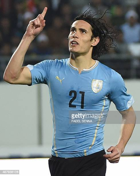 Uruguay's Edison Cavani celebrates a goal after a penalty during a friendly match against Morocco in Agadir on March 28 2015 AFP PHOTO /FADEL SENNA