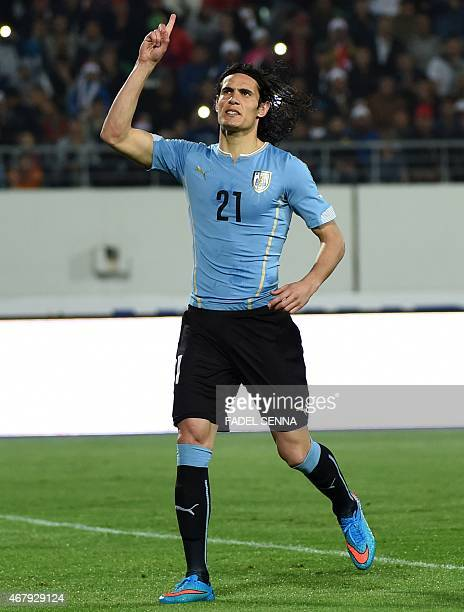 Uruguay's Edison Cavani celebrates a goal after a penalty during the friendly match between Morocco and Uruguay in Agadir on March 28 2015 AFP PHOTO...