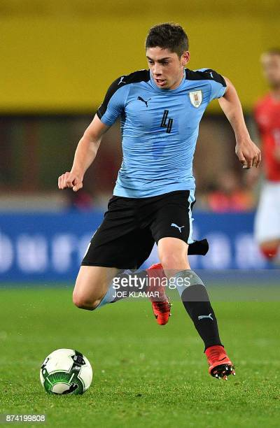 Uruguay's Federico Valverde controls the ball during the international friendly football match Austria v Uruguay in Vienna on November 14 2017 / AFP...