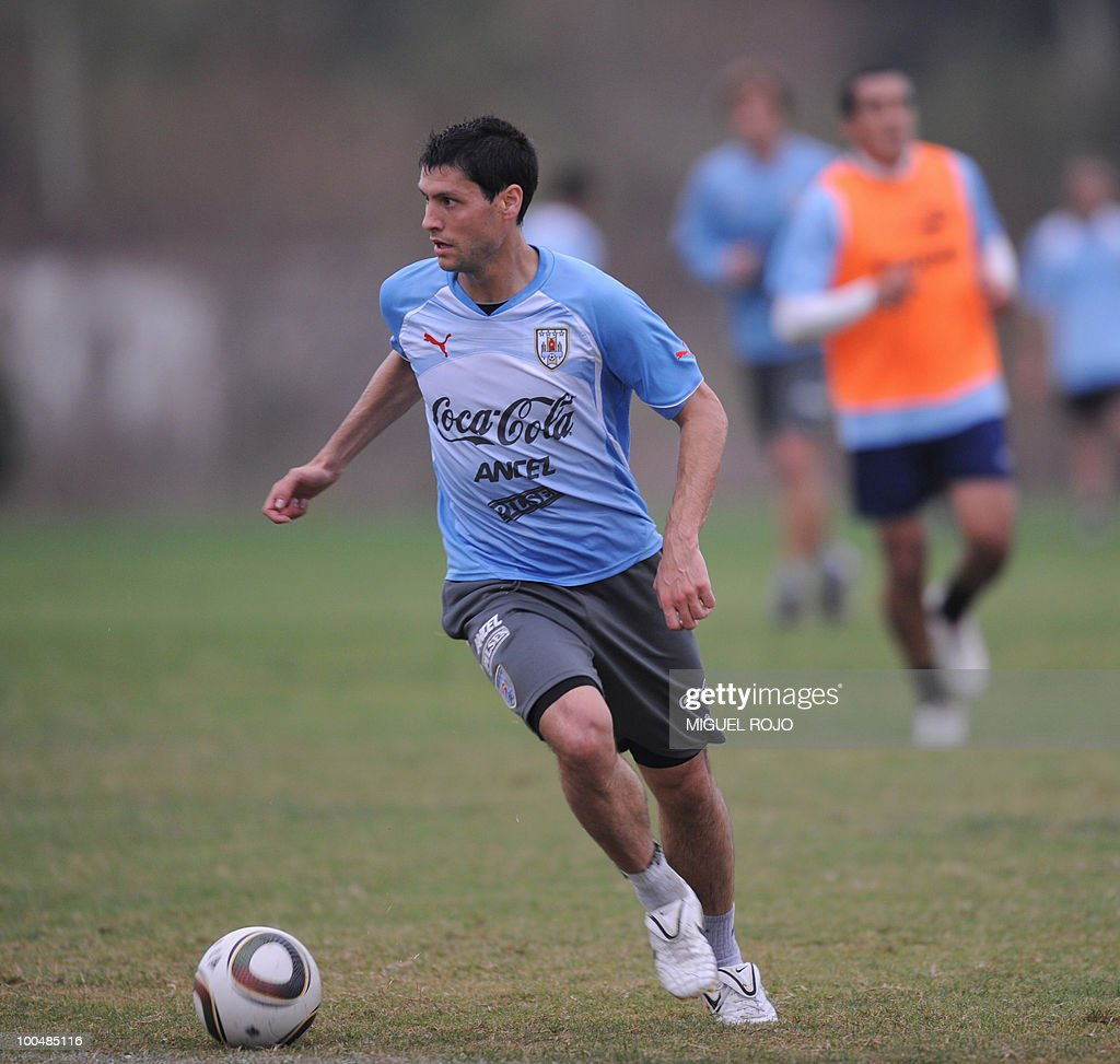Uruguay's footballer Ignacio Gonzalez during a training session at the Uruguayan Football Association's sports complex in the department of Canelones, near Montevideo, on May 24, 2010. Uruguay's South Africa 2010 World Cup campaign kicks off against France in Cape Town on June 11th.