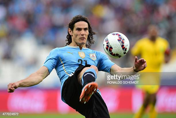 Uruguay's forward Edinson Cavani eyes the ball during the 2015 Copa America football championship match against Jamaica in Antofagasta northern Chile...