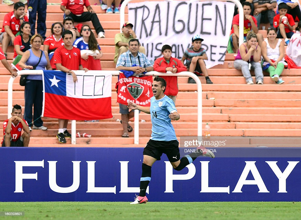 Uruguay's forward Gonzalo Bueno celebrates after scoring against Chile during their South American U-20 final round football match at Malvinas Argentinas stadium in Mendoza, Argentina, on January 27, 2013. Four South American teams will qualify for the FIFA U-20 World Cup Turkey 2013.