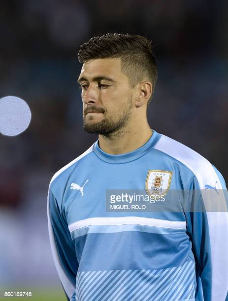 Uruguay's Giorgian de Arrascaeta poses before the 2018 World Cup football qualifier match against Bolivia in Montevideo on October 10 2017 / AFP...
