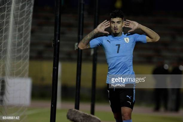 Uruguay's Joaquin Ardaiz cen celebrates his second goal as Ecuador's during a U20 South America qualifying soccer match for the 2017 South Korea U20...
