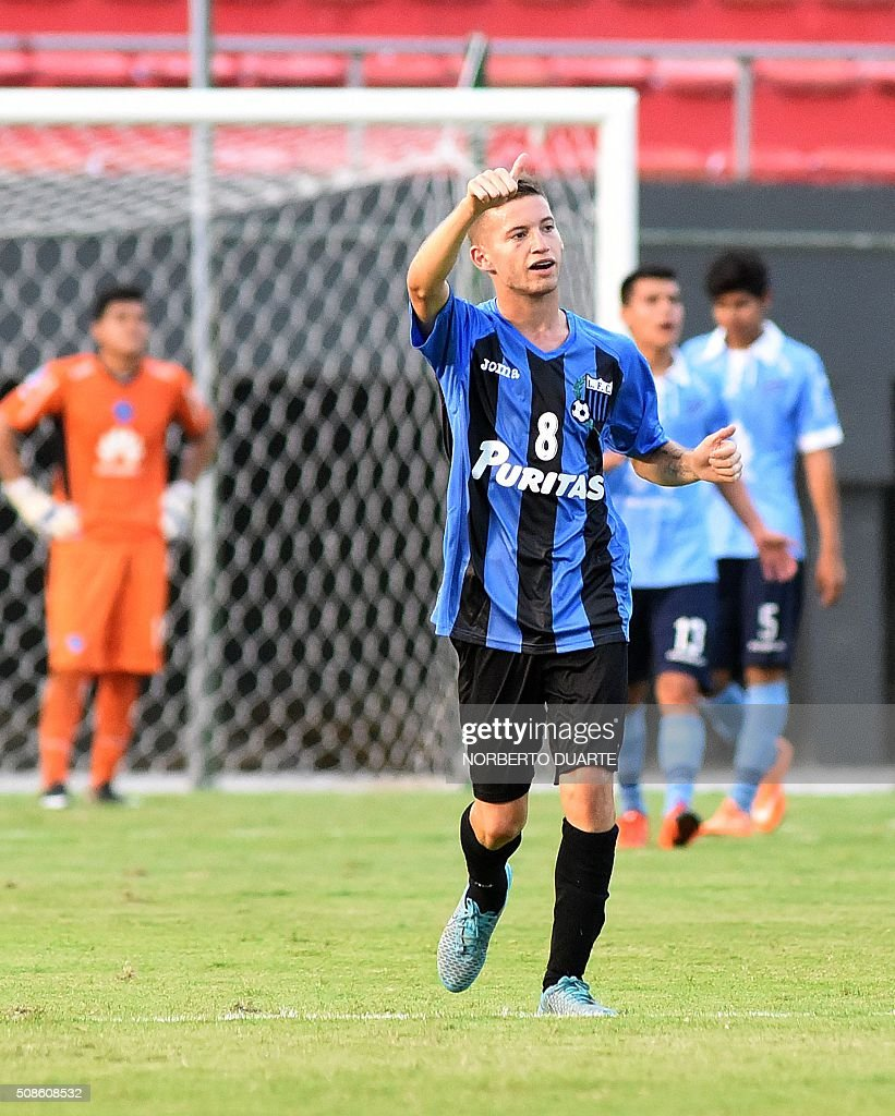 Uruguay's Liverpool player Pablo Gonzalez celebrates after scoring a goal against Bolivia's Bolivar team during their Copa Libertadores U20 football match at the Defensores del Chaco Stadium in Asuncion, on February 5, 2016. AFP PHOTO/Norberto Duarte / AFP / NORBERTO
