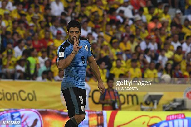 Uruguay's Luis Suarez celebrates after scoring against Colombia during their Russia 2018 World Cup qualifier football match in Barranquilla Colombia...