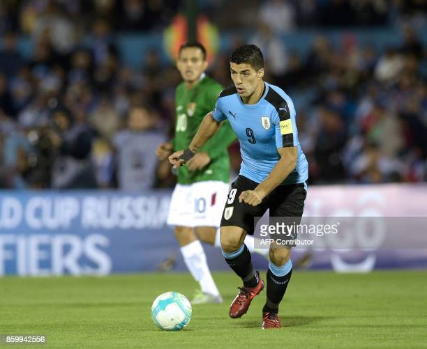 Uruguay's Luis Suarez controls the ball during their 2018 World Cup football qualifier match against Bolivia in Montevideo on October 10 2017 / AFP...