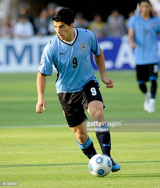 Uruguay's Luis Suarez during their FIFA 2010 World Cup Qualifying match at Atahualpa Olympic Stadium on October 10 2009 in Quito Ecuador