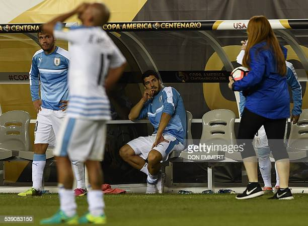 Uruguay's Luis Suarez shows his dejection after been defeated by Venezuela during the Copa America Centenario football tournament in Philadelphia...